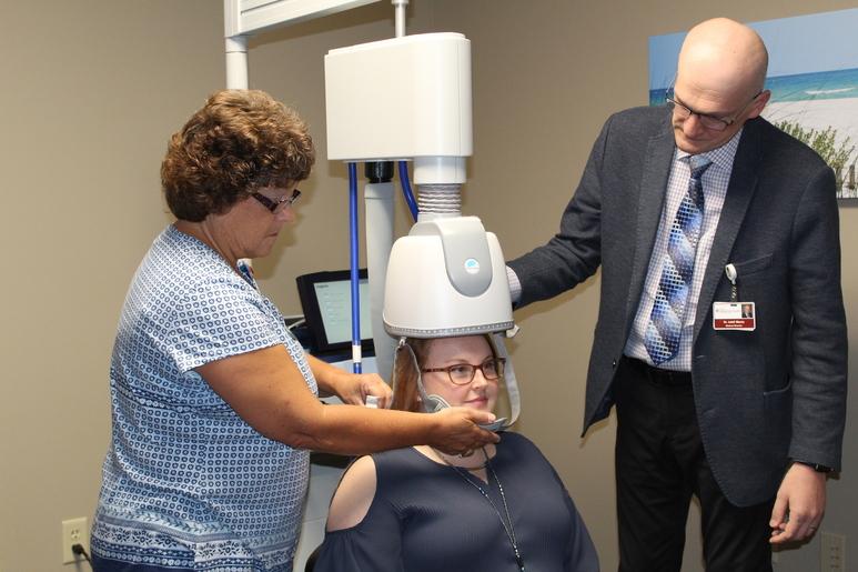 Doctor using equipment